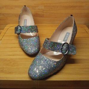 SJP Holographic Glitter Mary-Jane Block Heels